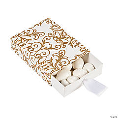 Gold Wedding Pull Favor Boxes