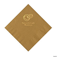 Gold Wedding Ring Personalized Napkins with Gold Foil - Luncheon
