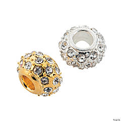 Goldtone & Silvertone Rhinestone Large Hole Beads - 14mm