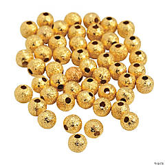 Goldtone Glitter Round Beads - 4mm