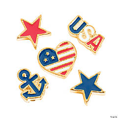 Goldtone Patriotic Floating Charms