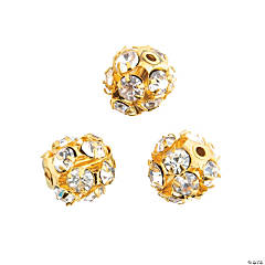 Goldtone Sparkle Round Beads – 9mm