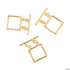 Goldtone Square Double Strand Toggle Clasps