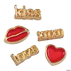 Goldtone Valentine Floating Charm Assortment