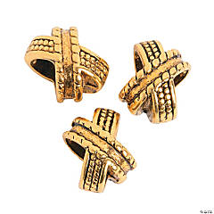 Goldtone X Beads - 9mm