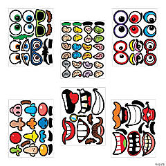 Goofy Jack-O-Lantern Face Stickers
