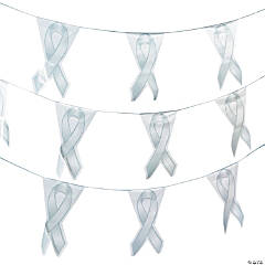Gray Awareness Ribbon Plastic Pennant Banner