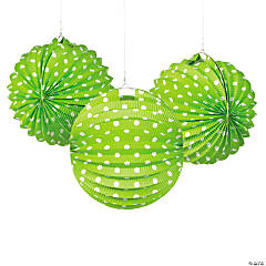Green & White Polka Dot Hanging Paper Lanterns