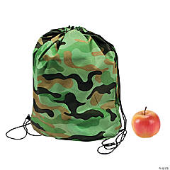 Green Camouflage Drawstring Backpacks
