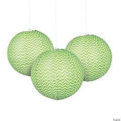 Green Chevron Hanging Paper Lanterns