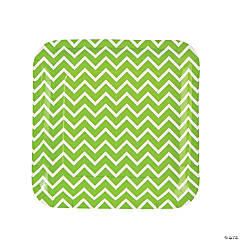 Green Chevron Paper Dinner Plates