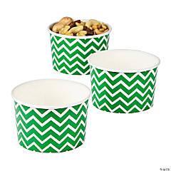 Green Chevron Snack Paper Bowls