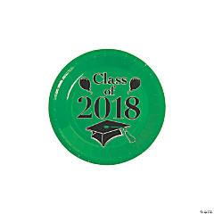 Green Class of 2018 Grad Party Dessert Paper Plates