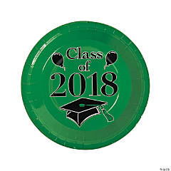 Green Class of 2018 Grad Party Dinner Paper Plates