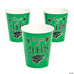 Green Class of 2018 Grad Party Paper Cups