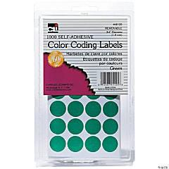 Green Color Coding Labels, Pack of 1000, Set of 12 Packs