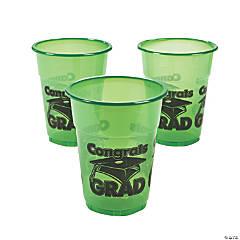 """Green """"Congrats Grad"""" Plastic Cups"""