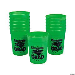 Green Congrats Grad Plastic Cups