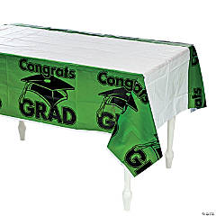 Green Congrats Grad Plastic Tablecloth