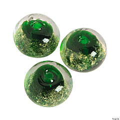Green Foil Beads - 13mm