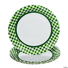 Green Gingham Paper Dinner Plates  sc 1 st  Oriental Trading & Save on Green Party Plates | Oriental Trading