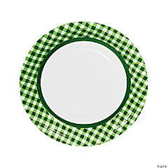 Green Gingham Paper Dinner Plates