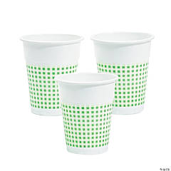 Green Gingham Plastic Cups