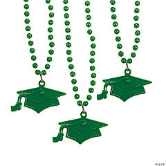 Green #1 Grad Mortar Board Bead Necklaces
