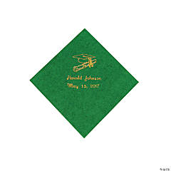 Green Grad Personalized Beverage Napkins with Gold Print