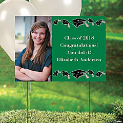 Green Graduation Custom Photo Yard Sign