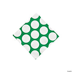 Green Large Polka Dot Beverage Napkins