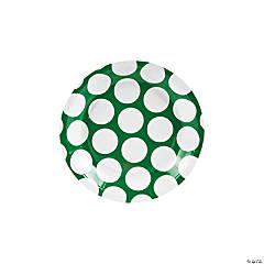 Green Large Polka Dot Paper Dessert Plates