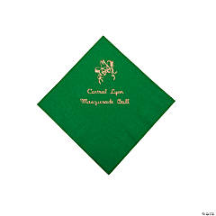 Green Masquerade Personalized Napkins with Gold Foil - Beverage
