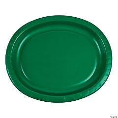 Green Oval Paper Dinner Plates