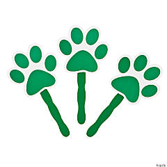 Green Paw-Shaped Hand Fans