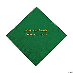 Green Personalized Beverage Napkins with Gold Print