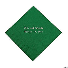 Green Personalized Napkins with Silver Foil - Beverage