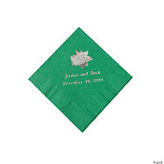 Green Personalized Poinsettia Beverage Napkins - Silver Print