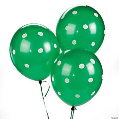 "Green Polka Dot 11"" Latex Balloons"