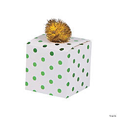 Green Polka Dots Pom-Pom Treat Boxes