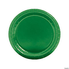 Green Round Paper Dinner Plates