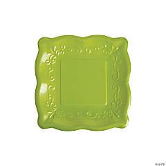 Green Scalloped Edge Paper Dessert Plates