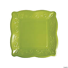 Green Scalloped Edge Paper Dinner Plates