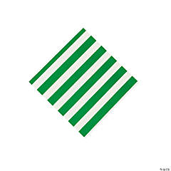 Green Striped Beverage Napkins