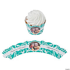 Green Swirl Custom Photo Cupcake Wrappers