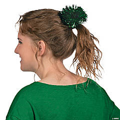 Green Team Spirit Metallic Hair Pom-Poms