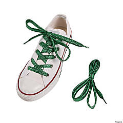 Green Team Spirit Metallic Shoelaces