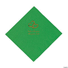 Green Two Hearts Personalized Napkins with Gold Foil - Luncheon