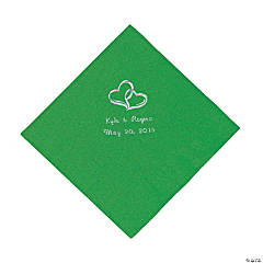 Green Two Hearts Personalized Napkins with Silver Foil - Luncheon