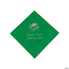 Green Wedding Personalized Napkins with Silver Foil - Beverage